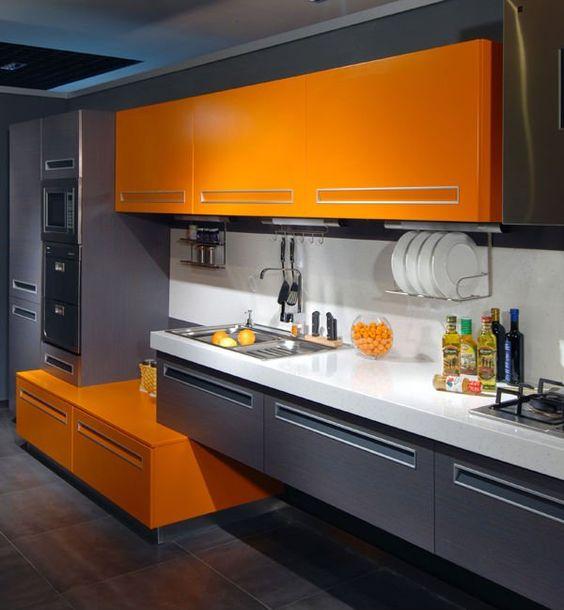 decoracion de cocinas en color naranja 2018