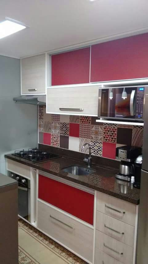 decoracion de cocinas en color rojo 2018