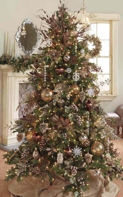 Decoracion de navidad verde con cobre