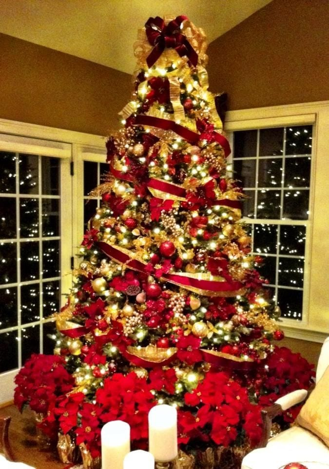 Decoracion navidad rojo con dorado 22 curso de for Decoracion del hogar por navidad