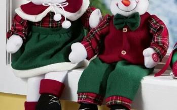 Decoracion de navidad con monos de nieve