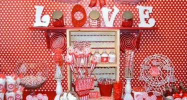 Mesas de postres de san valentin