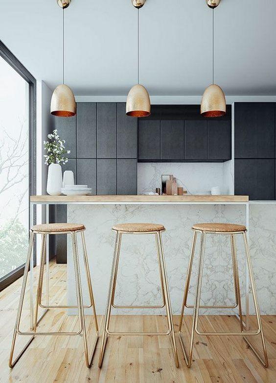 moda en metal para encimera o barra para decoracion de cocinas 2018