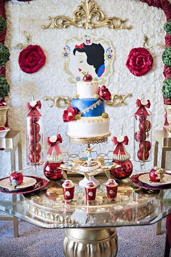 Decoracion de mesa de postres blanca nieves 11 curso - Decoracion de mesa de dulces ...