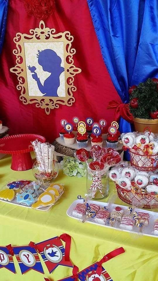 Decoracion de mesa de postres blanca nieves 7 curso de - Decoracion mesas infantiles ...