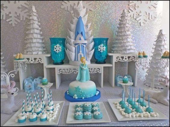 Decoracion de mesa de postres frozen 12 curso de for Como decorar mesa de postres para baby shower