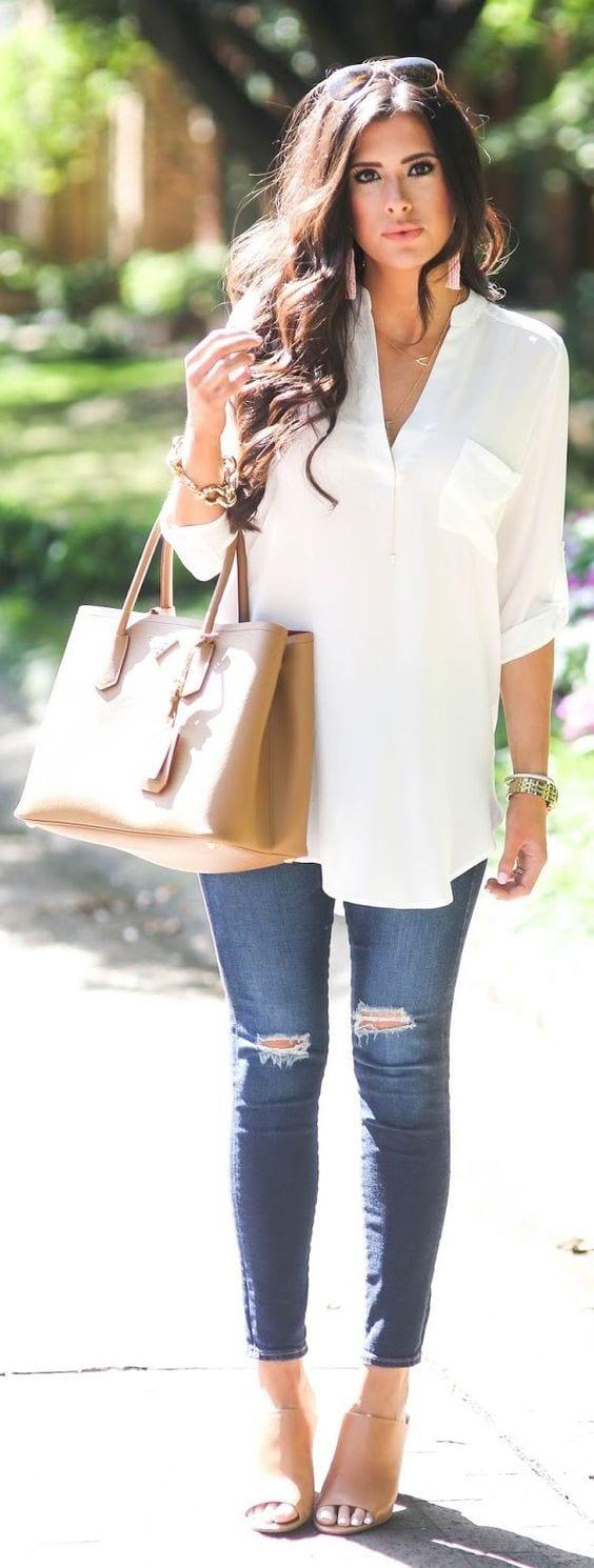 Outfit De Jeans Con Blusa Blanca (17) - Curso De Organizacion Del Hogar