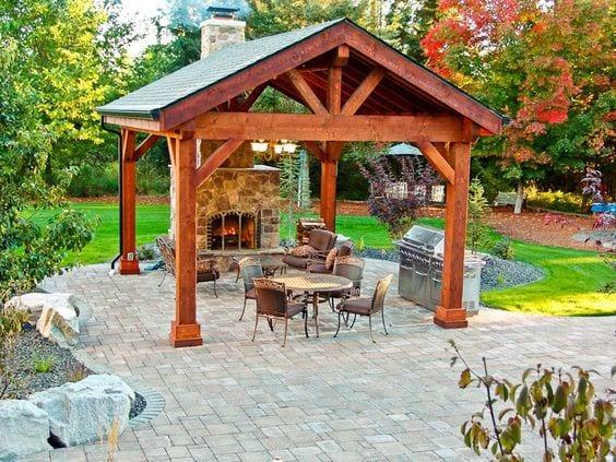 Dise os de palapas para decorar jardines fotos ideas imagenes for House plans with fireplace in center of house