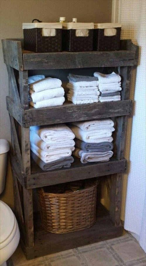 Ideas Organizar Baño:Wood Pallet Bathroom Shelf Ideas