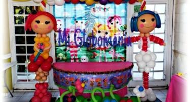 Decoracion con globo para fiesta de lalaloopsy