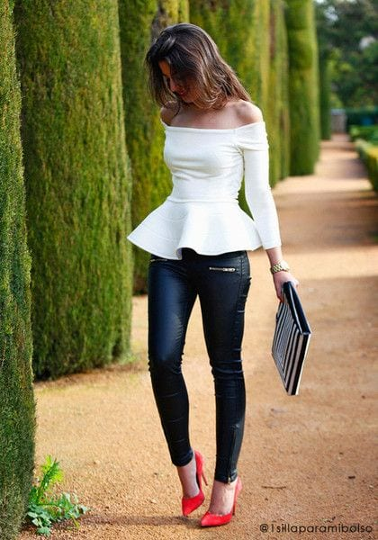 ideas de outfit con peplum top
