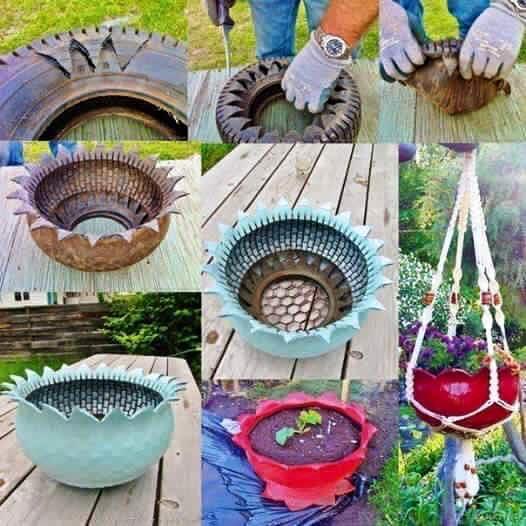 Ideas para reciclar llantas 40 curso de organizacion for Decoracion de jardin con llantas