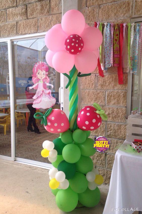 Decoracion con globo de rosita fresita - Curso de Organizacion del ...