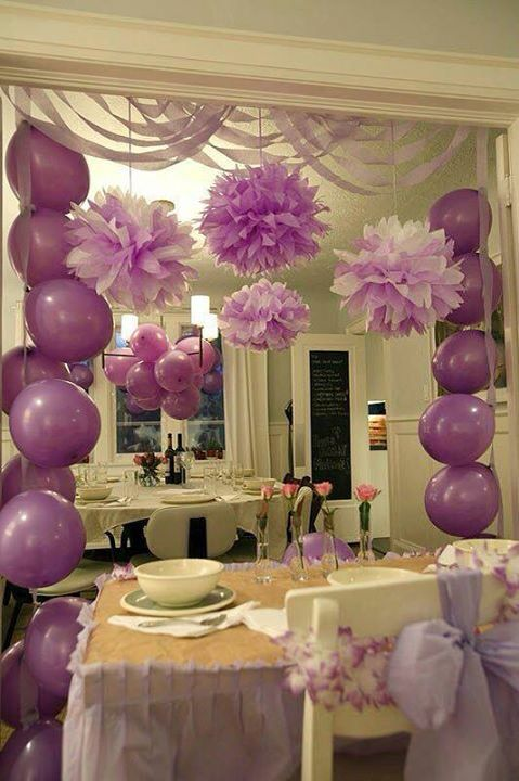 Decoracion de baby shower en morado 3 curso de for Decoracion para baby shower en casa