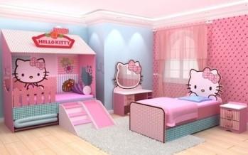 Decoracion de habitacion para niña de Hello Kitty