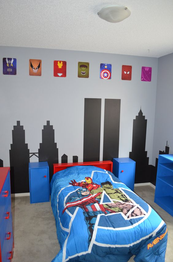 Decoracion de recamaras para ninos con super heroes 1 for Decoracion para pared de recamara