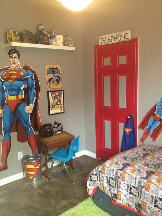 Decoracion de recamaras para ninos con super heroes 25 - Decoracion pared ninos ...