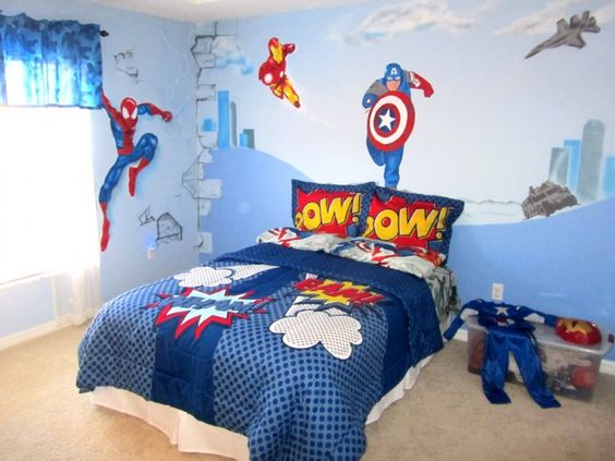 Decoracion de recamaras para ninos con super heroes 9 for Papel pintado contemporaneo del dormitorio del adulto