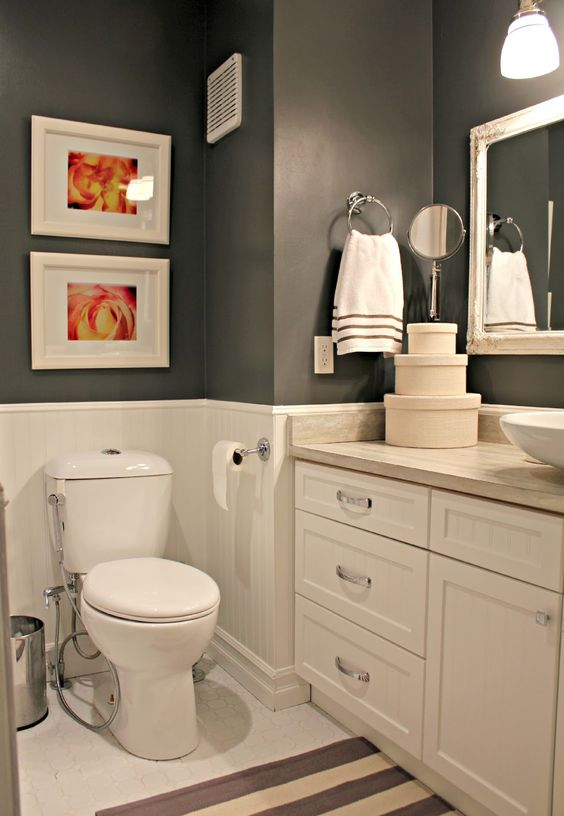 Ideas Para Decorar Baño De Visitas:Grey and White Bathroom Reno