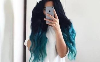 Tendencia en cabello negro con toques de azul