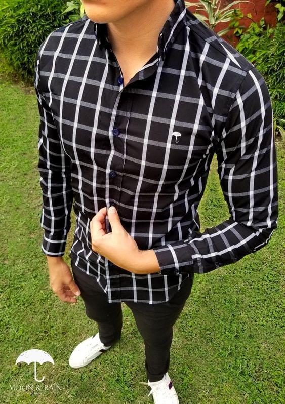 Como combinar camisa a cuadros hombre