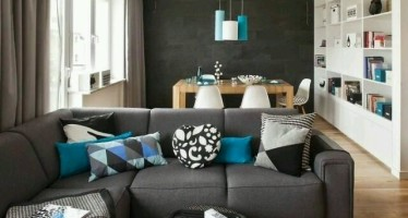 Decoracion de interiores en color gris oscuro
