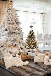 Ideas de decoracion de arboles de navidad 2017 - 2018 blanco dorado