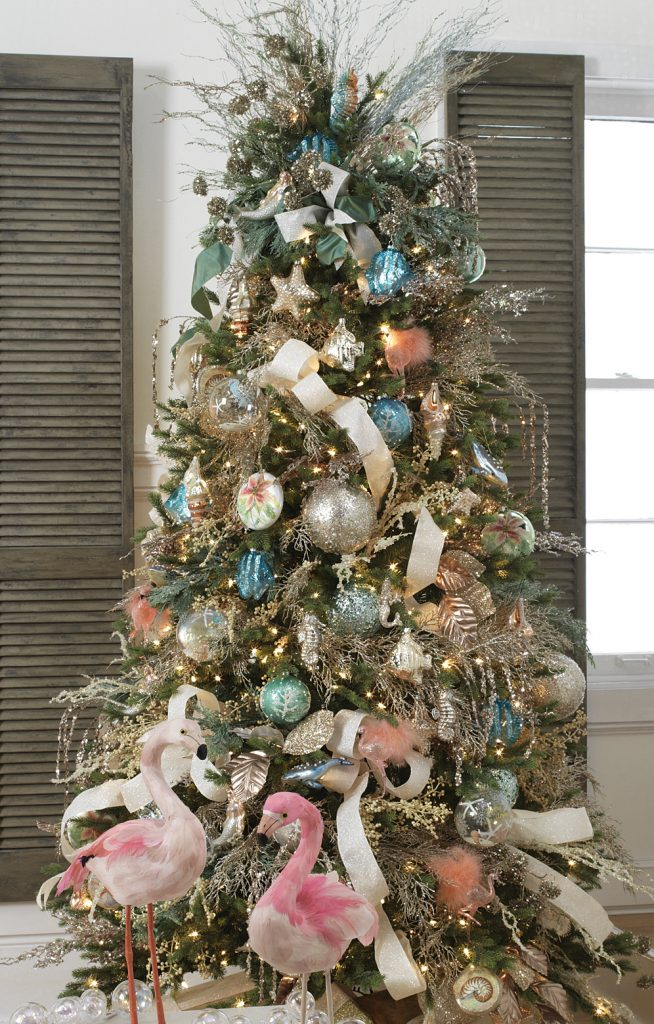 Tendencias para decorar tu arbol de navidad 2017- 2018 azul y listones blancos