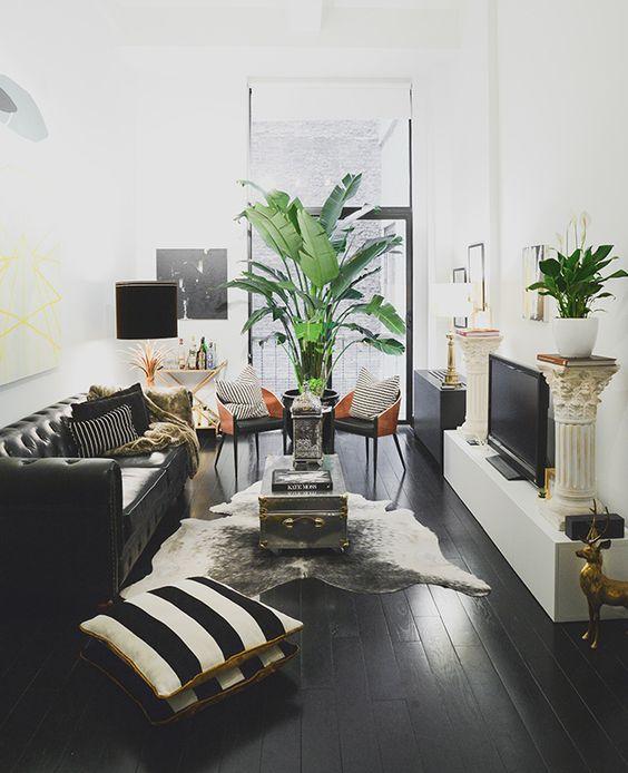 Sofas de piel en color negro para espacios elegantes y for Sofas modernos para espacios pequenos