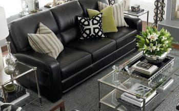 Sofas de piel en color negro para espacios elegantes y modernos