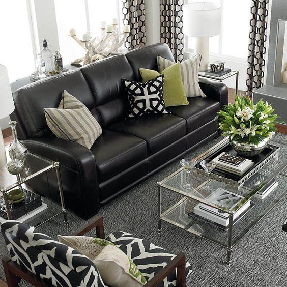 Sofas de piel en color negro para espacios elegantes y - Sofas modernos de piel ...