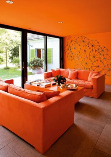 Decoracion de salas de estar en color naranja 10 curso for Decoracion hogar naranja