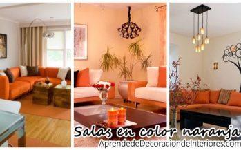 Decoración de salas de estar en color naranja