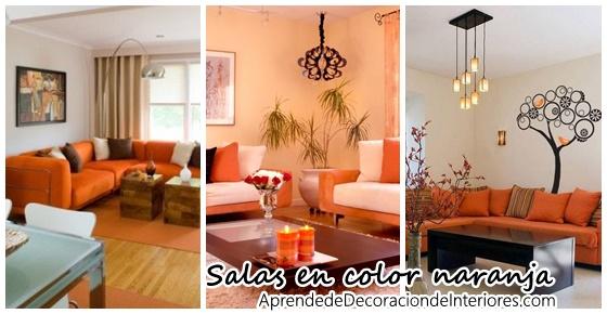 Decoraci n de salas de estar en color naranja curso de - Detalles de decoracion para casa ...