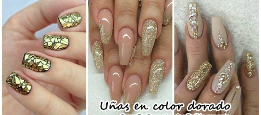 Decoración de uñas en color dorado