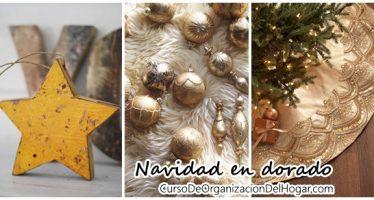 Decoraciones navideñas en color dorado y amarillo