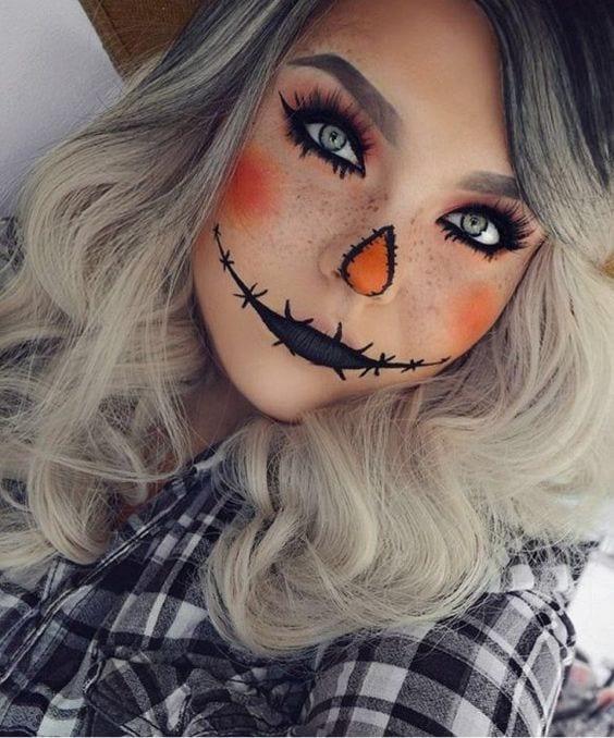 Maquillaje de calabaza para halloween 2019