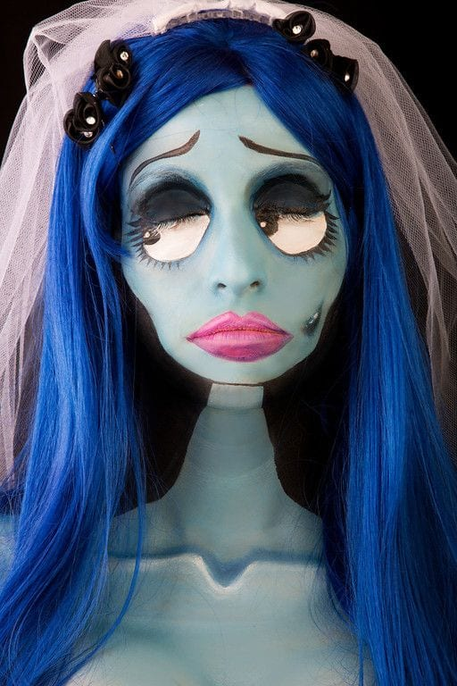 Maquillaje de Sally pesadilla antes de navidad para halloween