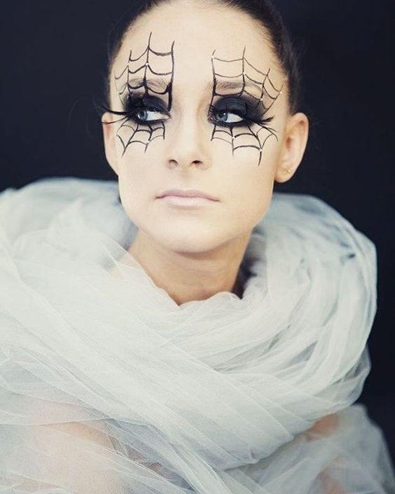 Maquillaje para halloween de telarañas