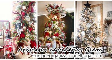 Decoración de arbolitos navideños estilo Glam