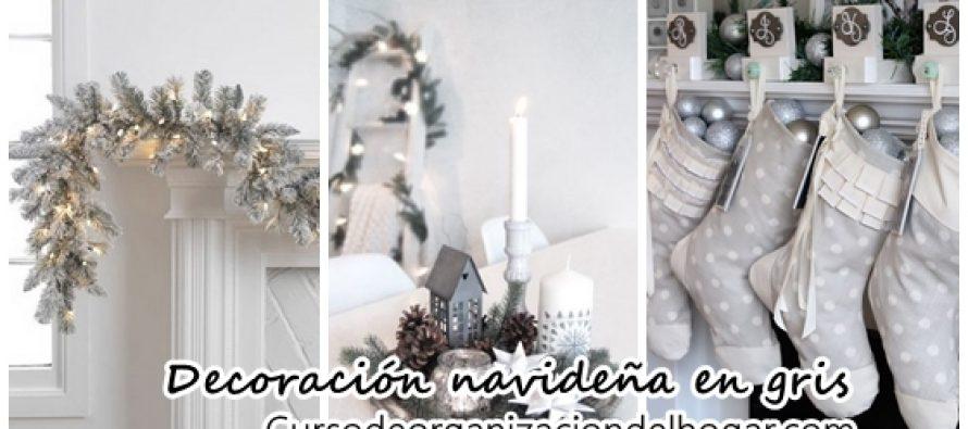 Hermosa decoración navideña en color gris