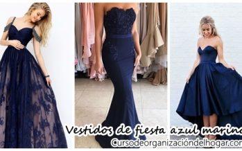 Hermosos vestidos de fiesta en color azul marino