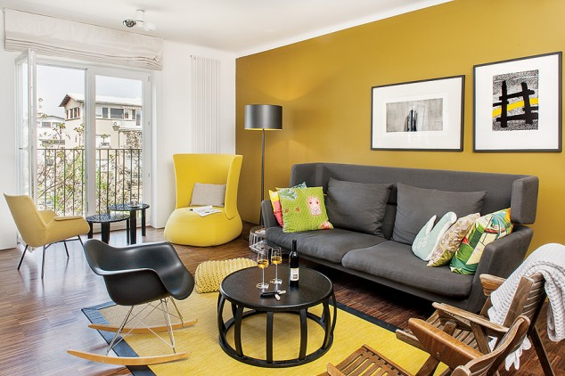 Hermosa decoraci n de salas color gris con amarillo 22 for Muebles de sala color gris