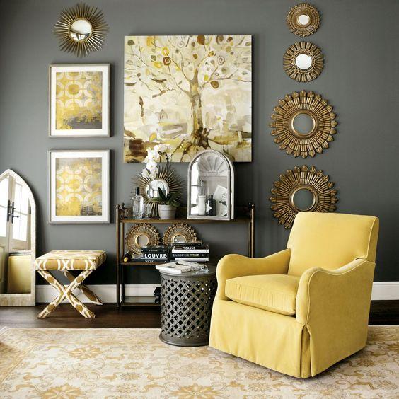 Hermosa decoraci n de salas color gris con amarillo 25 for Decoracion de salas en gris y amarillo