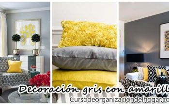 Hermosa decoración de salas color gris con amarillo