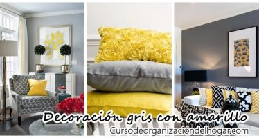 Hermosa decoración de salas color gris con amarillo