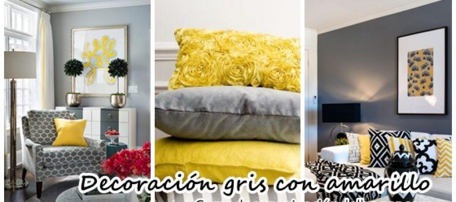 Hermosa Decoraci N De Salas Color Gris Con Amarillo
