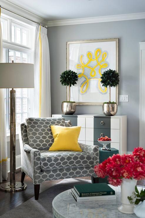 Hermosa decoraci n de salas color gris con amarillo 6 for Decoracion hogar gris