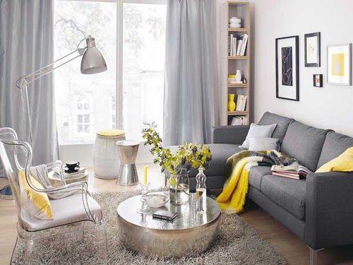 Hermosa decoraci n de salas color gris con amarillo 7 for Decoracion de salas en gris y amarillo