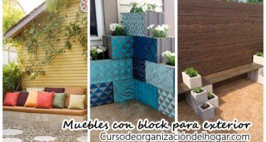 Muebles para exterior hechos con bloques